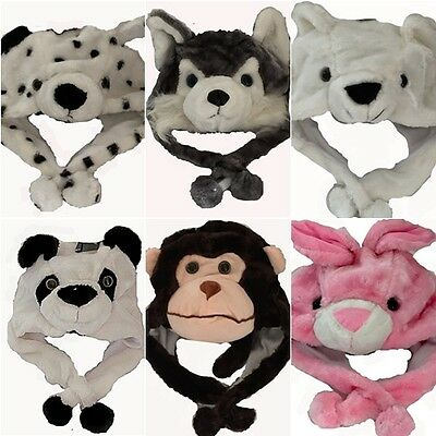 Short Childrens Fur Head  Animal Trapper Hats with Gloves Scarf Snood Great Gift