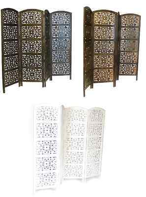 4 Panel Hand Carved Indian Screen Wooden Flower Design Screen Room Divider