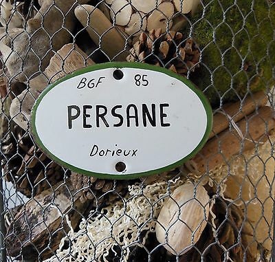 Garden flower VINTAGE FRENCH ENAMEL STEEL PORCELAIN SIGN LABEL Persane Rose