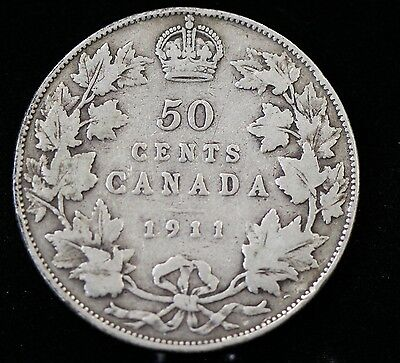 1911 Canada Silver Fifty Cents 50 Cent Coin Canadian Half Dollar
