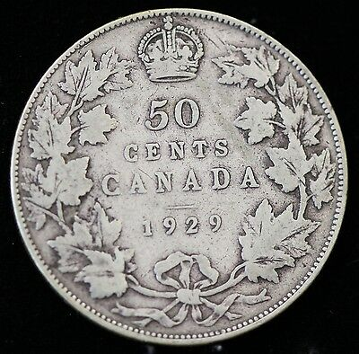 1929 Canada Silver Fifty Cents 50 Cent Coin Canadian Half Dollar