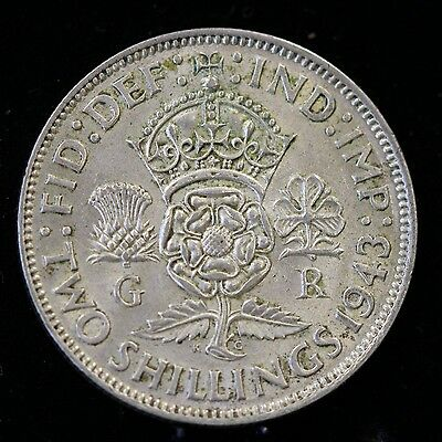 Great Britain,1943 Florin, 2 Shillings, circulated,
