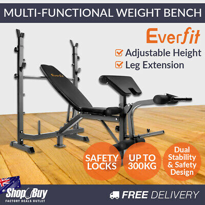 Multi Functional Weight Fitness Bench Exercise Home Gym Equipment Black