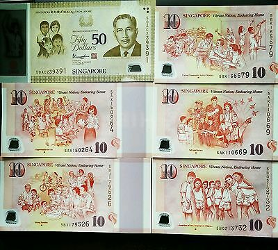 Singapore SG50 Commemorative bank notes $50 x1, $10 x 5 Complete Set  UNC