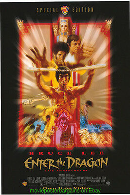 ENTER THE DRAGON MOVIE POSTER 27x40 Original Video Store One Sheet BRUCE LEE