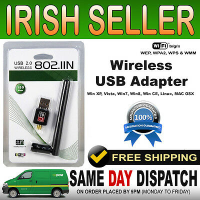 New 802.11n/g/b 150M USB WiFi Card Wireless Network Adapter Dongle W LAN Antenna