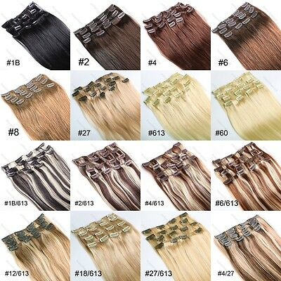 """15""""18""""20""""22""""24""""26""""28"""" 7PCS Remy Clip In Straight Human Hair Extensions Full head"""
