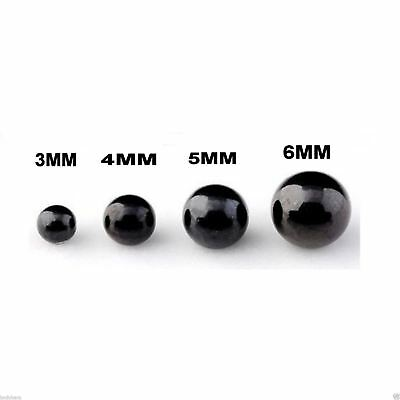 10 Spare Surgical Steel Threaded Black Balls Body Piercing Parts 14g 5mm Balls