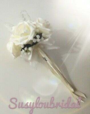 Ivory Shade Bridesmaid,Princess,Flower Girl Rose And Butterfly Wands Wedding.