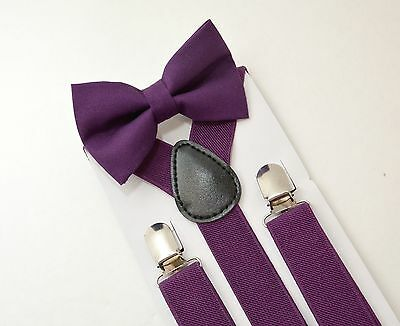 Kids Boys Mens Purple  Suspenders & Purple Plum Cotton Bow tie SET 6mon - ADULT