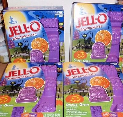 Halloween Jell-O Jigglers Mold Kit Brand New X4 Frankenstein, Spider Nib