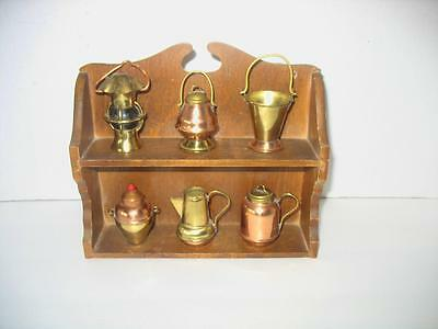 Vintage Miniature Copper and Brass Set of 6 With Shelf Japan