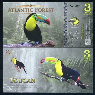 Atlantic Forest 3 Aves Dollars 2015 - Toucan, Birds