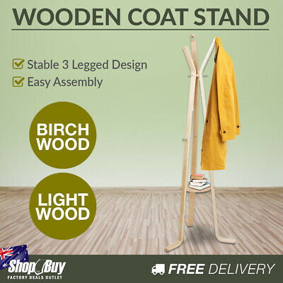 Clothes Stand Wooden Coat Rack Hat Jacket Hanger Light Wood