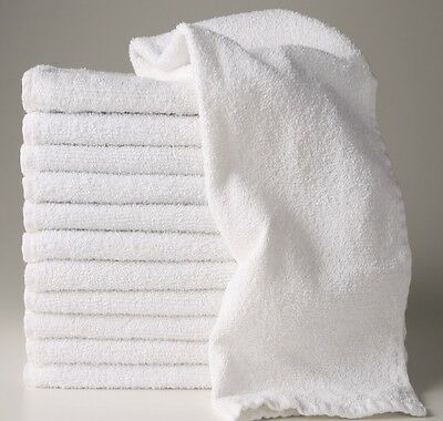 24 new white 16x27 100% cotton terry hand towels salon/gym/hotel super absorbent