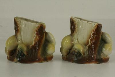 "Vintage Shawnee Pottery 2PC Lot MUSHROOM Tree Trunk Pocket Planters 4.25"" Tall"