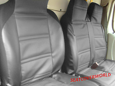 Renault Master - Luxury Padded Leather Look Van Seat Covers - Single + Double