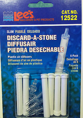 Lee's Discard-A-Stone Airstone straight connector 4mm airline aquarium PACK OF 6