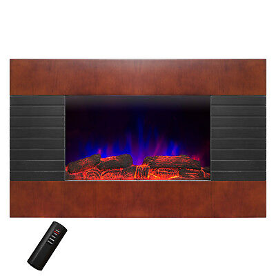 "36"" Wall Mount 2-in-1 Log and Pebble Option Tempered Glass Electric Fireplace"