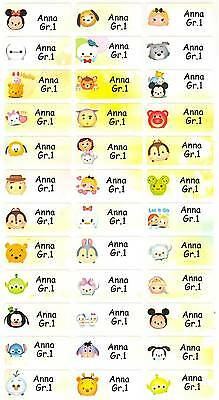 Personalized Waterproof Name labels stickers, 36 Tsum Tsum , day care, school,