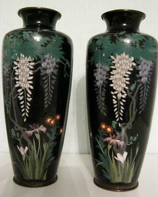 "C19th Japanese Cloisonne Wisteria Decorated Vase Pair 6"" AF"