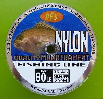 80lb 200m spool RED Colour DFS QUALITY Monofilament Mono Nylon Fishing Line