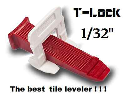 "1/32"" T-Lock™ Tile leveling system complete KIT wall floor spacers clips leveler"