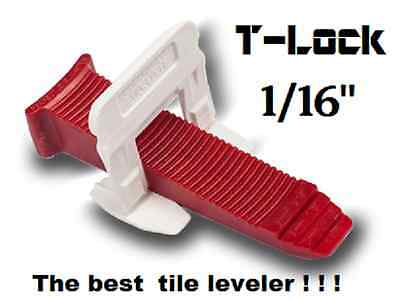 "1/16"" T-Lock™ Tile leveling system complete KIT wall floor spacers clips leveler"