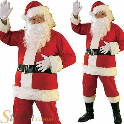 Santa Claus Costume Father Christmas Flannel Suit Mens Adult Fancy Dress Outfit