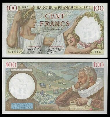 France 100 Francs SULLY 6.6.1940 P 94 UNC