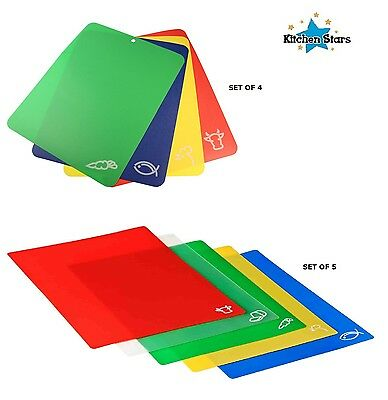 Set of 4 & 5 Colour Coded Flexible Plastic Kitchen Chopping Cutting Boards Mats