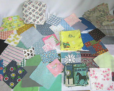"Huge Lot Of Antique Vintage Quilting Squares - 7"",6"",5"" And Smaller - Calico!"