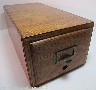 Vintage Wooden Card Catalog File Cabinet Single Drawer Dovetailed Wood Box