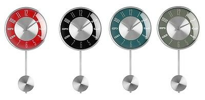 Pendulum Wall Clock Black Red Blue Grey Stylish Designs Brand New