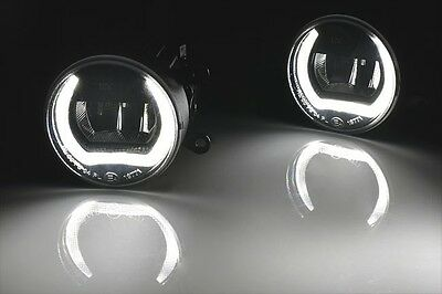 High Power LED Daytime Running Light with Fog Light Ø90mm Round R87 DRL Black