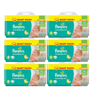"""PAMPERS Maxi Active Baby Dry Windeln """"4"""" 7-14kg Sparpack 30-636 Stk. Monatsbox"""