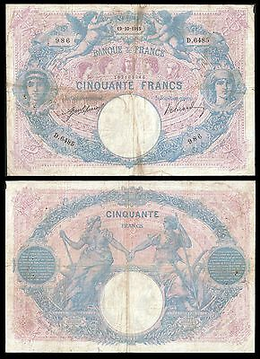 France 50 Francs ROSE et BLEU 19.10.1915 P 64e F+