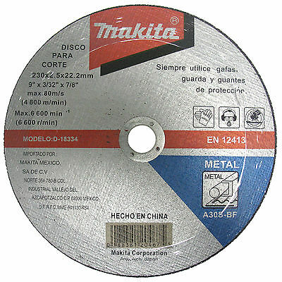 Makita Angle Grinder Cutting Disc for Metal 230mm x 3mm x 22.2mm Bore