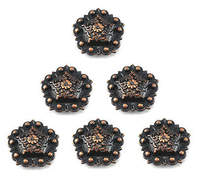 Berry  Pentagon Concho Lot Of 6 Pcs Antique Copper Western Leather Craft 1 ""