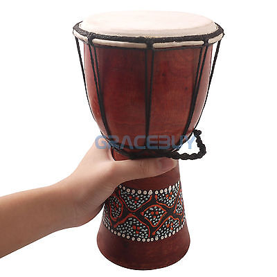 """5"""" Djembe Traditional African Hand Drum Handmade Classic Painting Wooden Drum"""