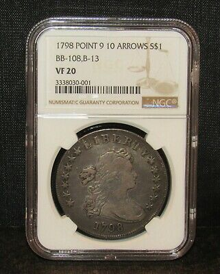 1798 Heraldic Eagle Reverse Dollar Point 9 10 Arrows BB-108, B-13 NGC VF 20