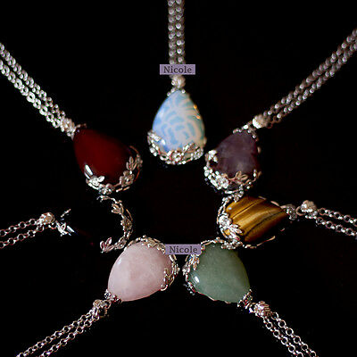 Beautiful Natural Crystal Quartz Gemstone Pendant Necklace NF48