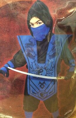 Halloween Complete Blue Ninja Costume Size 6 small(L4)
