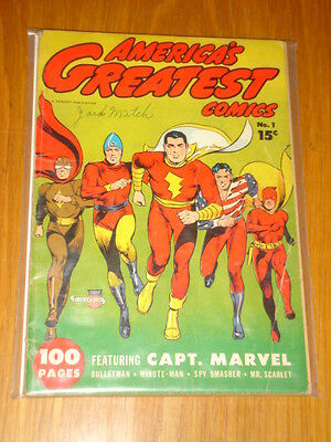 America's Greatest Comics #1 Vg (4.0) 1941 Fawcett Captain Marvel Bulletman*