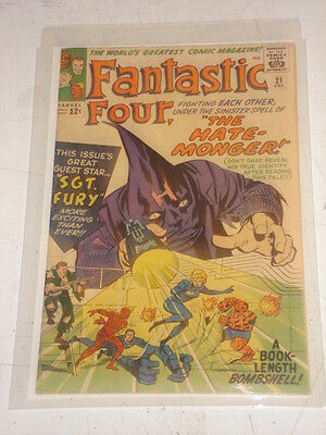 Fantastic Four #21 Fn (6.0) 1St Fury X-Over December 1963 Jack Kirby*