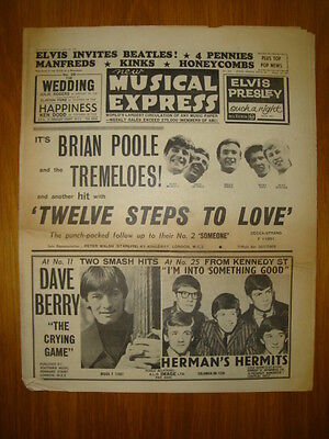 Nme #920 1964 Aug 28 Elvis Invites Beatles Kinks Hermit