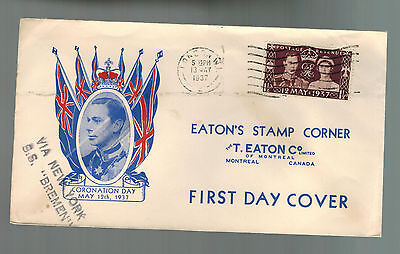 1937 England first day cover to Canada Coronation Cachet Via SS Bremen KGVI