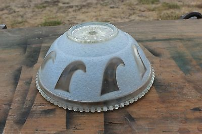 Antique Frosted  Blue Glass Ceiling Light Fixture Shade 3 Chain