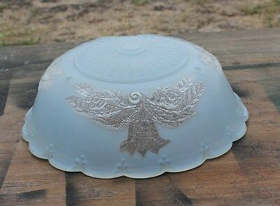 Antique Frosted Floral Blue Glass Ceiling Light Fixture Shade 3 Chain