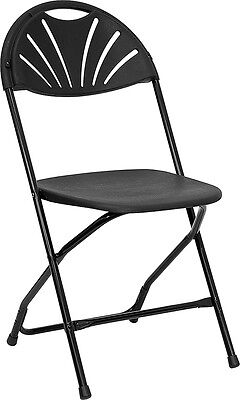 8 Black Plastic Fan Back Folding Chairs Stacking Wedding Day Chair FREE SHIP